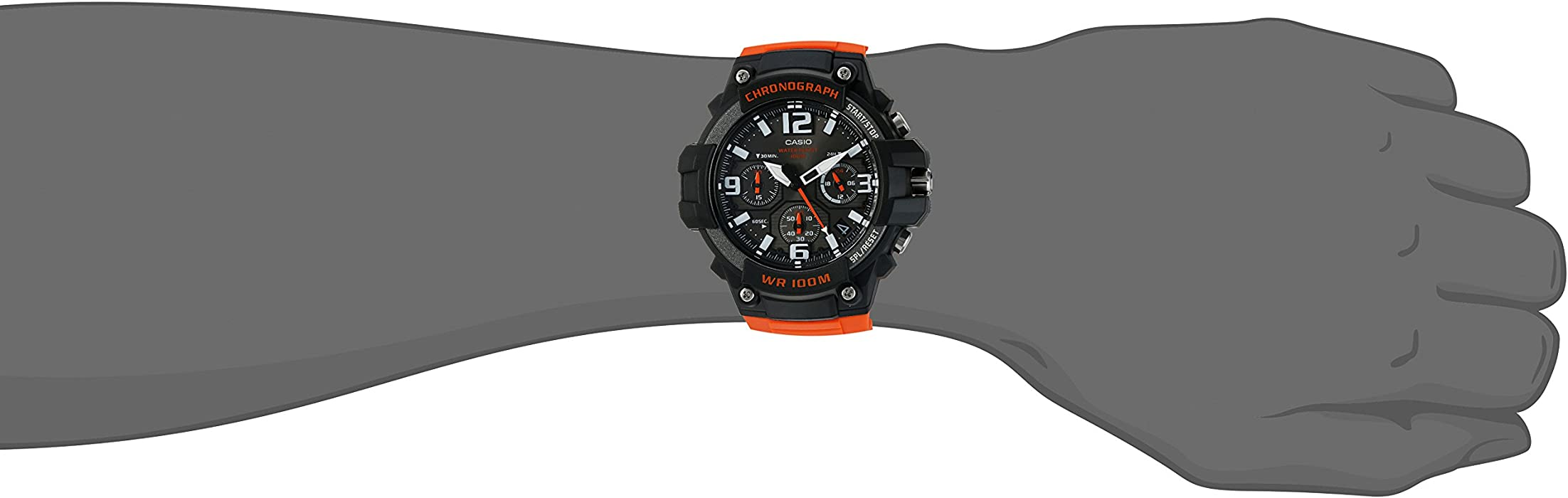 Casio Men Heavy Duty Chronograph Quartz Stainless Steel and Resin Casual Watch ColorOrange Model MCW100H4AV