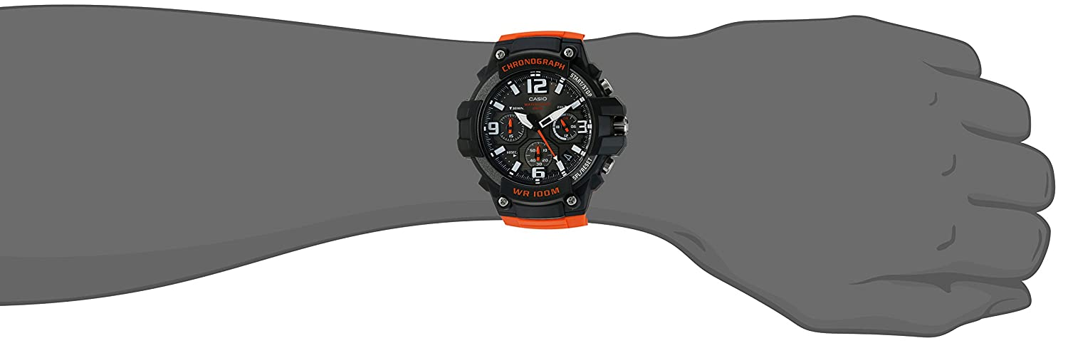 Casio Men Sports Stainless Steel Quartz Watch with Resin Strap Orange 25 Model MCW100H4AV