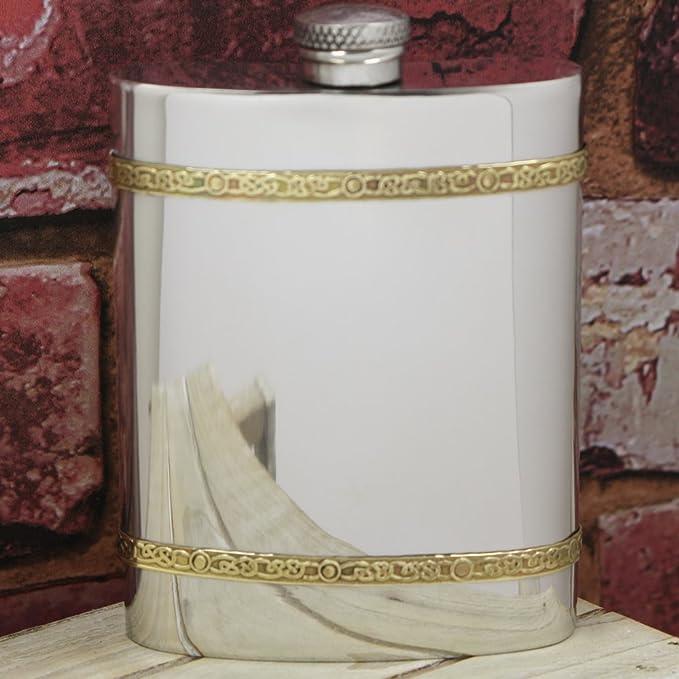 English Pewter Company Celtic diseño banda de latón 6 oz peltre petaca. Personalizado con grabado gratis: Amazon.es: Hogar