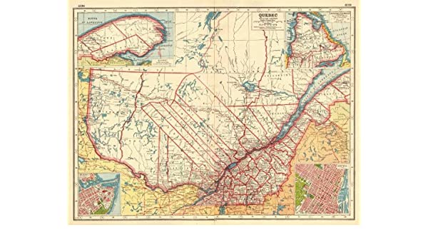 Map Of Canada Quebec City.Amazon Com Quebec Quebec Showing Counties Inset Plans Of Quebec