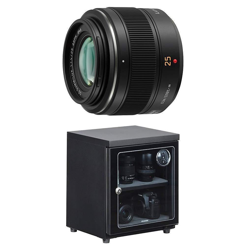 パナソニック 単焦点レンズ マイクロフォーサーズ用 ライカ DG SUMMILUX 25mm/F1.4 ASPH. ブラック H-X025 + HAKUBA 電子防湿庫 E-ドライボックス 40リットル KED-40セット   B07KSMGF32