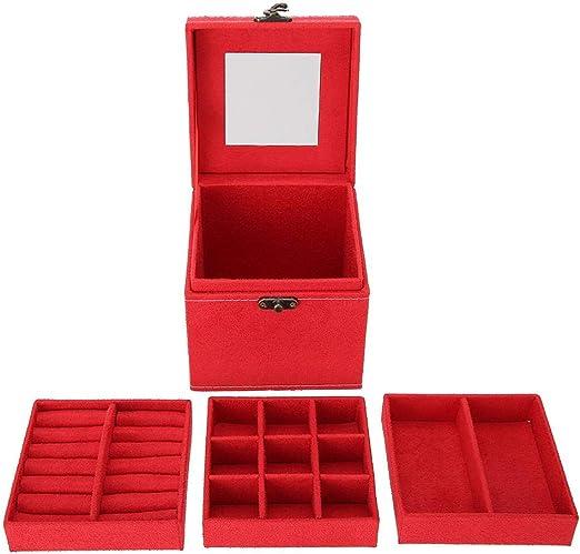 Caja de Almacenamiento de Joyería con Cerradura, Estuche de Exhibición de Joyería de Rojo para Anillo y Pendientes y Collar y Pulsera y Regalo: Amazon.es: Hogar