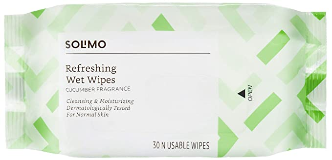 Amazon Brand - Solimo Refreshing Wet Wipes, Cucumber - 30 Wipes