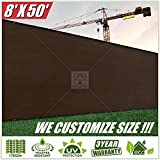 ColourTree 8' x 50' Fence Privacy Screen Windscreen Cover Fabric Shade Tarp Plant Greenhouse Netting Mesh Cloth Brown - Commercial Grade 170 GSM - Heavy Duty - 3 Years Warranty - CUSTOM
