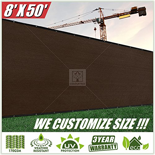 ColourTree 8' x 50' Fence Screen Privacy Screen Brown - Commercial Grade 150 GSM - Heavy Duty - 3 Years Warranty CUSTOM SIZE AVAILABLE (1) (1, 8' x 50')