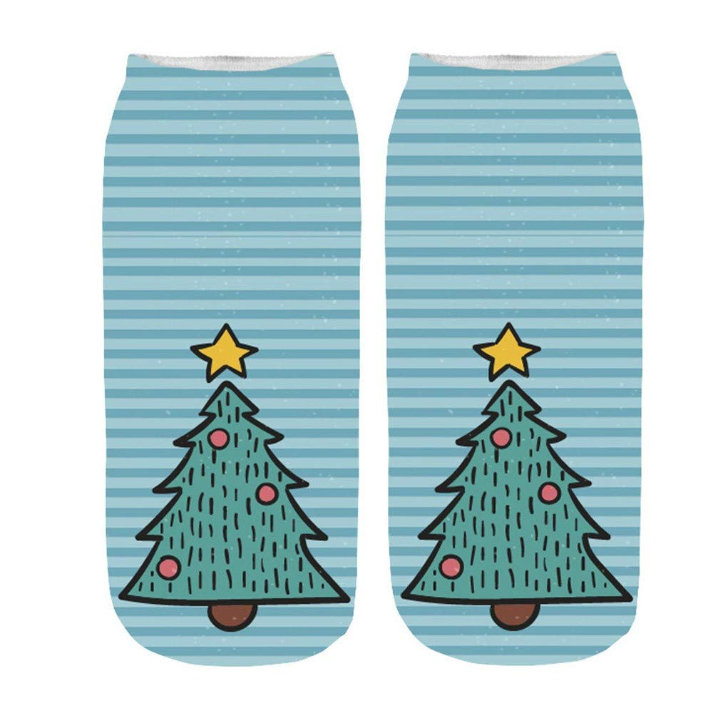 GzxtLTX Ankle Socks Christmas Cartoon Blue Funny 3D Christmas Pattern Printed