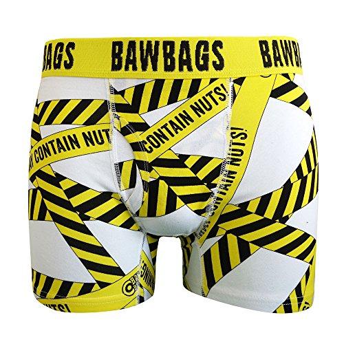 Bawbags Warning Boxer Shorts - White -Medium