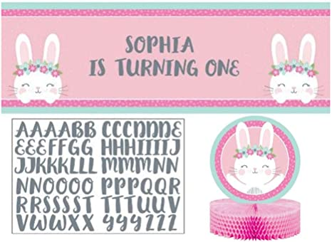 107 Pieces 1st Birthday Pink Bunny Tableware and Decoration Party Supplies Pack for 24 Guests