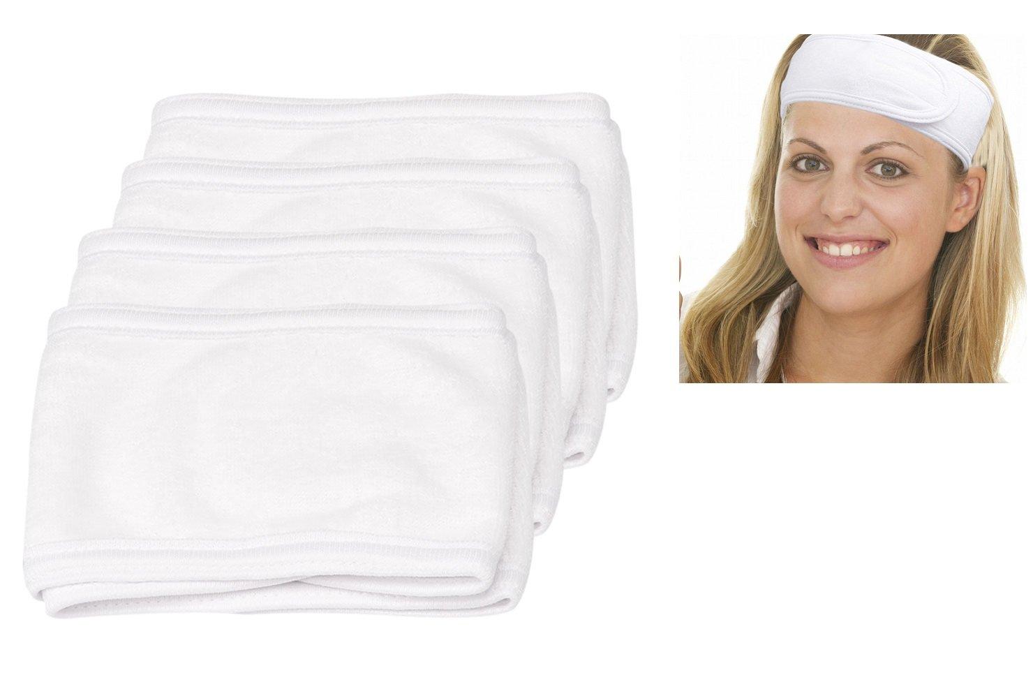 Cavetee Makeup Headband Facial Headbands, 4pcs White Terry Cloth Spa Headbands Sport Headbands For Women Men Girls (White)