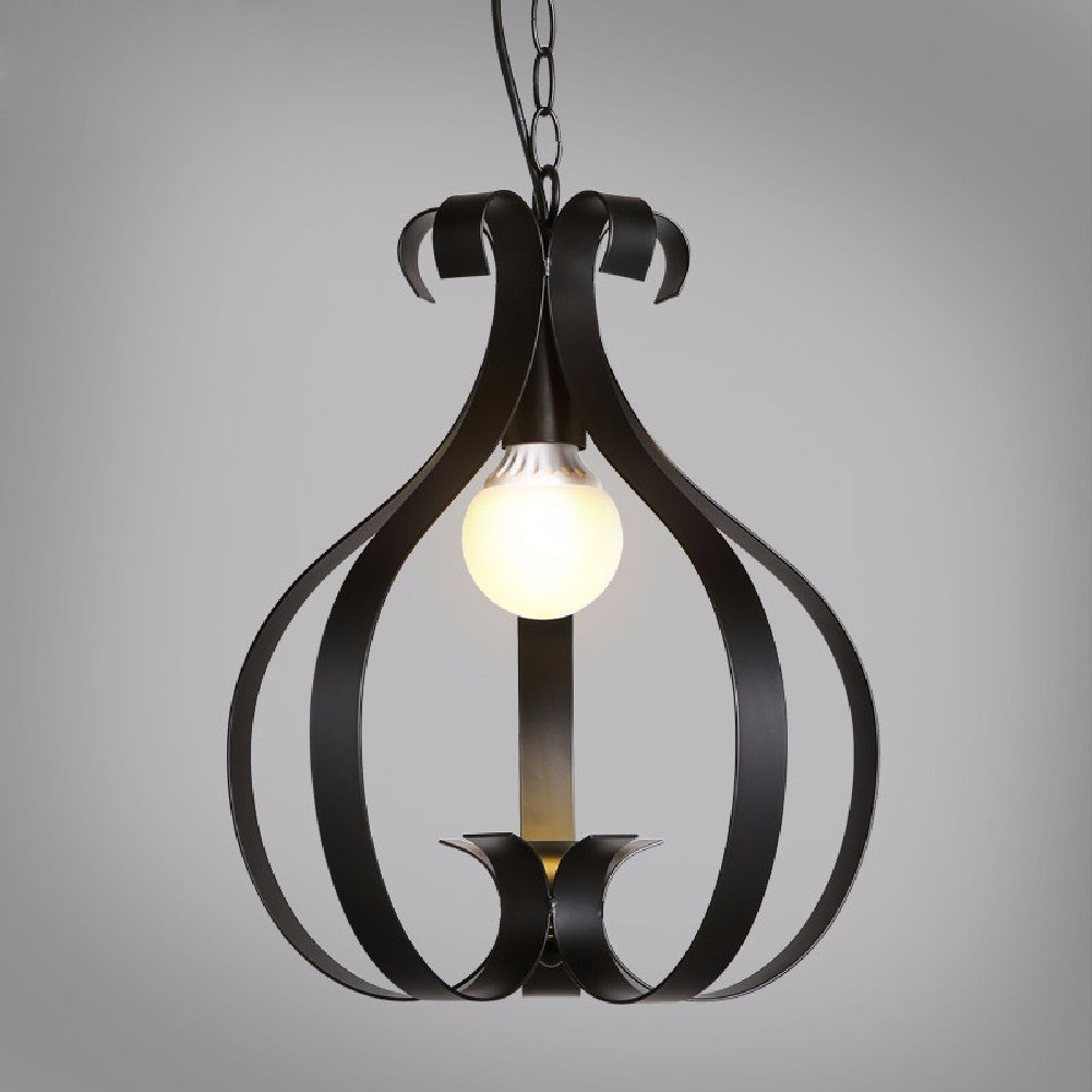 HQLCX Chandelier The European Simple Meals Chandeliers Of Modern Living Room Dining Room Balcony Garden Windows Iron Carving Pendant Flap,Black