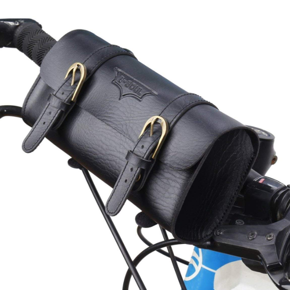 73JohnPol B-Soul Sacchetto per Manubrio Bicicletta Vintage Sacchetto per Bicicletta Coda Sacchetto per Ciclismo in Pelle Sella Sacchetto Coda Borsa per Bici Colore: Nero