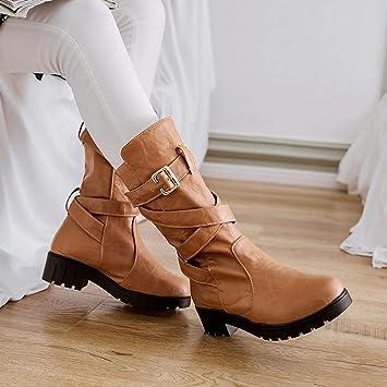 67218167f LuckyGirls Mujer Botas de Media Caña Hebilla Botitas Cruzado Moda Zapatos  Botas de Nieve Calzado  Amazon.es  Deportes y aire libre