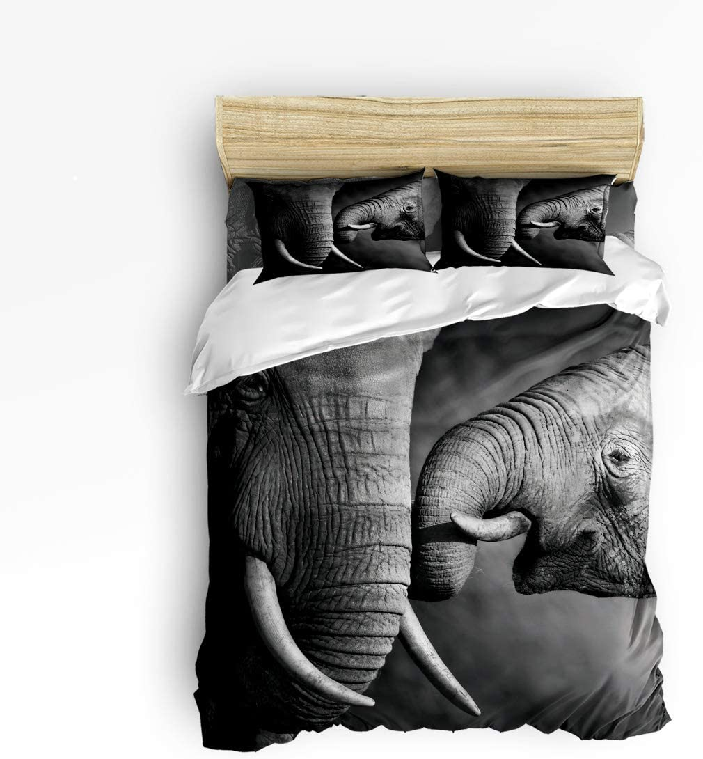 Trendier King 4pcs Duvet Cover Set Bedding Sets Home Decor,3D Elephant Animal Printed Black and White Bed Sheet Set,Include 1 Flat Sheet 1 Duvet Cover and 2 Pillow Cases