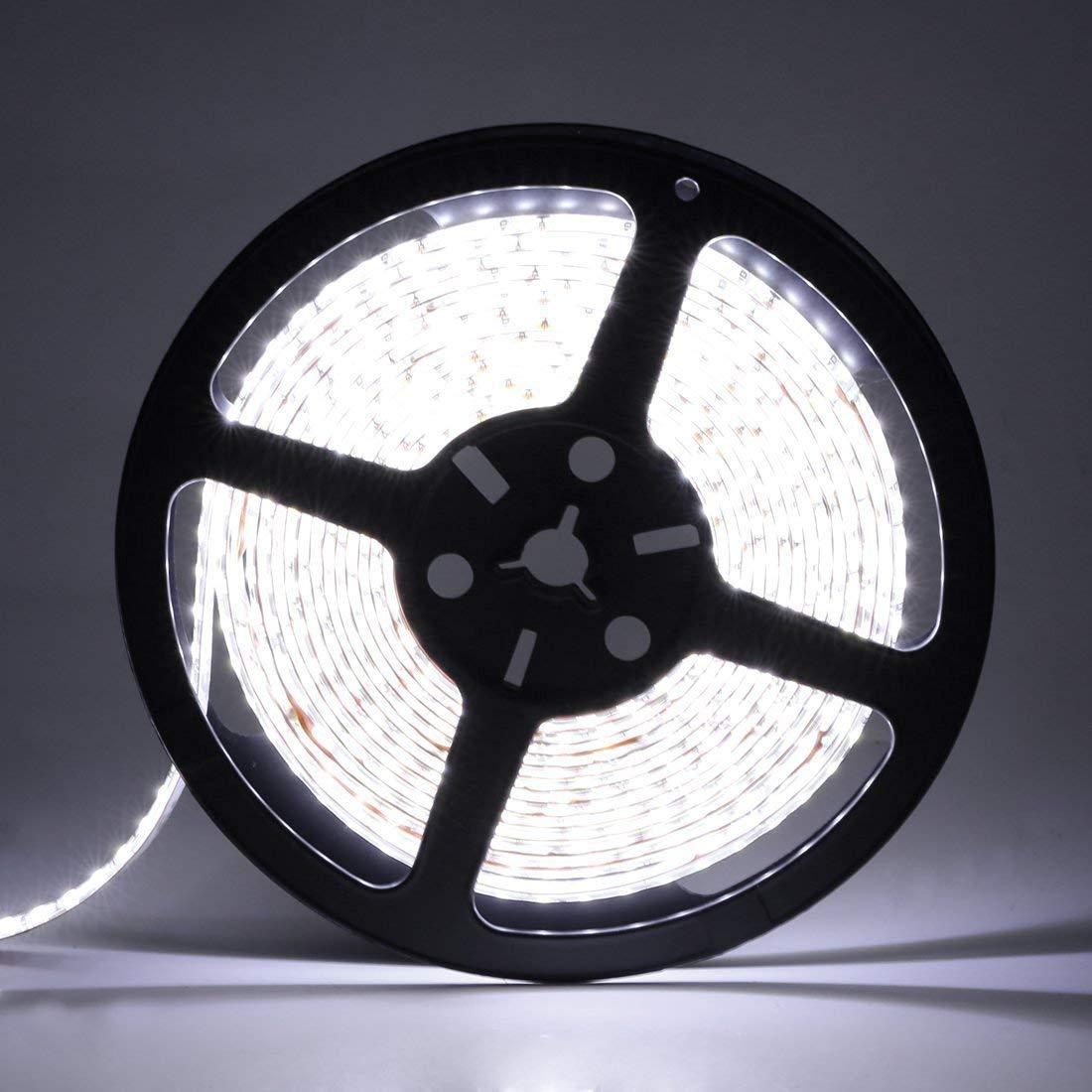 LEDMO LED Strip Lights SMD 2835 Non waterproof LED Strip DC12V 600LEDs 16.4Ft 6000K 15Lm LED High CRI80 LED Light Strips 3 times brightness than SMD3528 LED Strip White