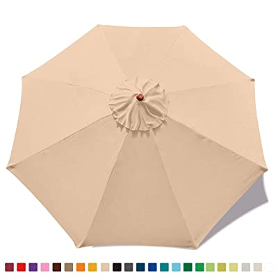 MASTERCANOPY Replacement Market Umbrella Canopy for 9ft 8 Ribs (Canopy Only) (Beige) : Garden & Outdoor
