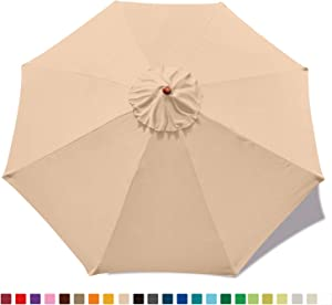 ABCCANOPY 9ft Outdoor Umbrella Replacement Top Patio Umbrella Market Umbrella Replacement Canopy with 8 Ribs(Beige)