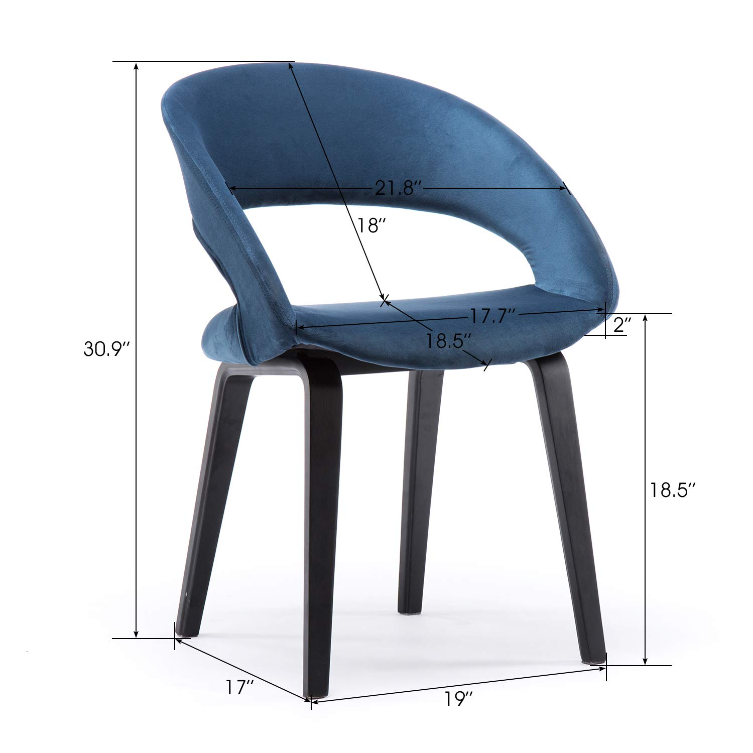Amazon com yimiga dining chair open back blue mid century modern arm chairs black wood legs velvet upholstered fabric kitchen bedroom dining room