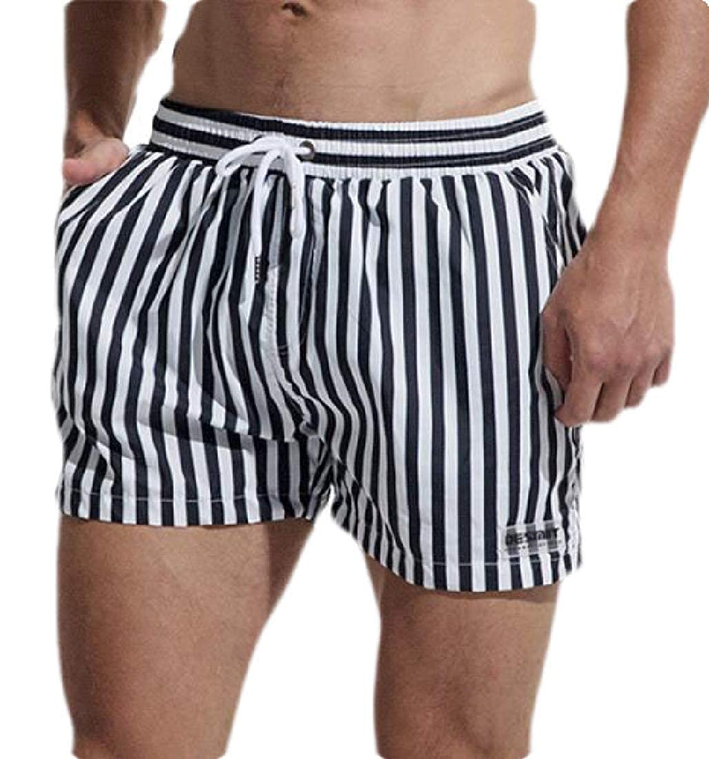 Zantt Men Loose Drawstring Quick Dry Stripe Print Swim Trunks Beach Shorts