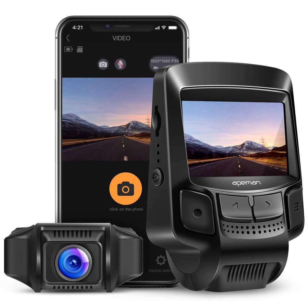 APEMAN Dash Cam FHD 1080P WiFi Car Dashboard Camera DVR 170° Wide Angle Lens 2.45'' IPS LCD Advanced Sensor Super Night Vision WDR, Loop Recording, Motion Detection, G-Sensor, Parking Monitor