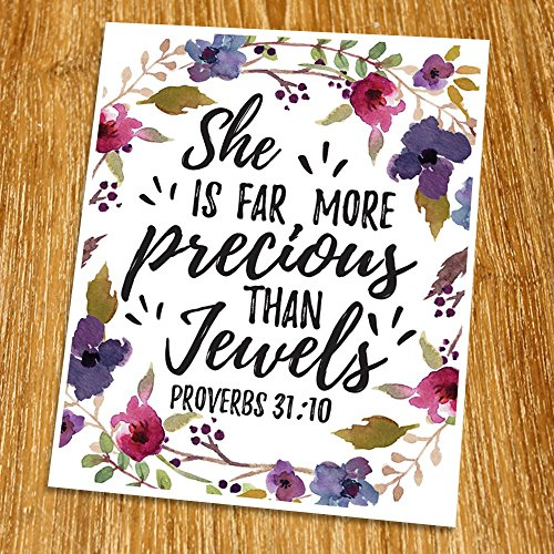 Proverbs 31:10 She is far more precious than jewels Print (Unframed), Watercolor Flower, Scripture Art, Bible Verse Print, Christian Wall Art, Nursery Print, Inspiration, 8x10