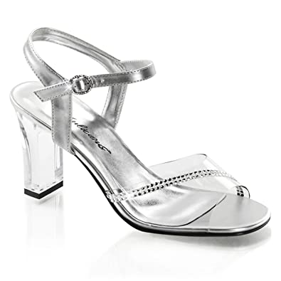 Amazon.com | Womens 3.25'' Clear Chunky Heels with Silver Ankle ...