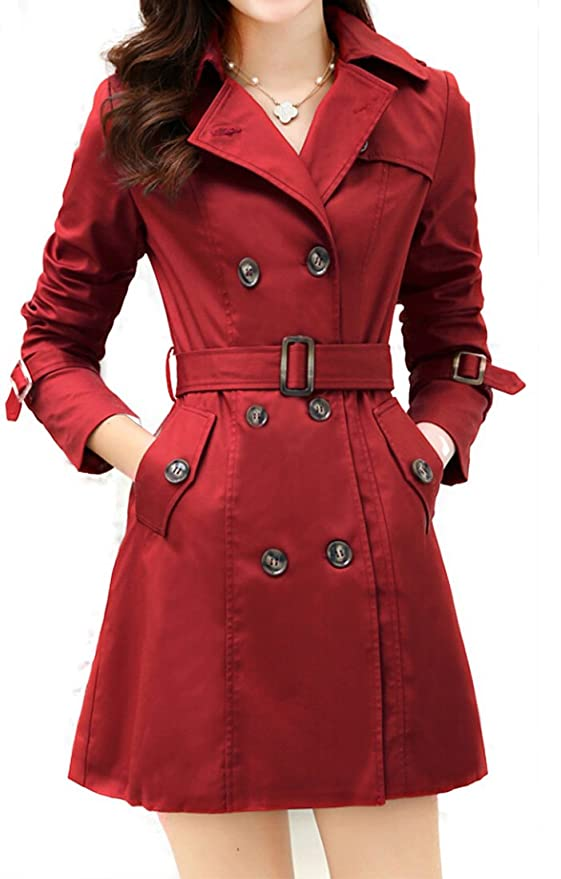 Long Slim Double-breasted Trench Coat