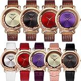 Yunanwa 9 Pack Women Watches Quicksand Rhinestone 5pcs Leather + 4pcs Mesh Brand Wrist Watches Wholesale