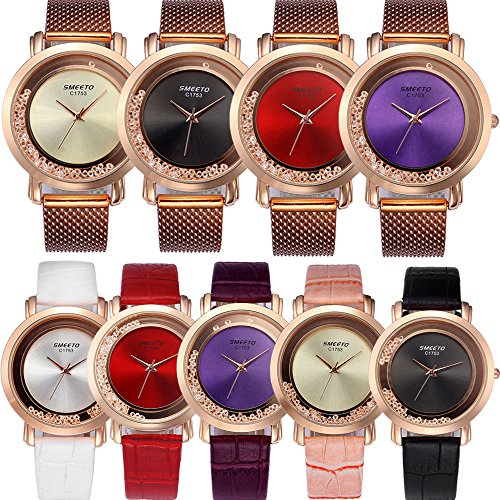 Yunanwa 9 Pack Women Watches Quicksand Rhinestone 5pcs Leather + 4pcs Mesh Brand Wrist Watches -