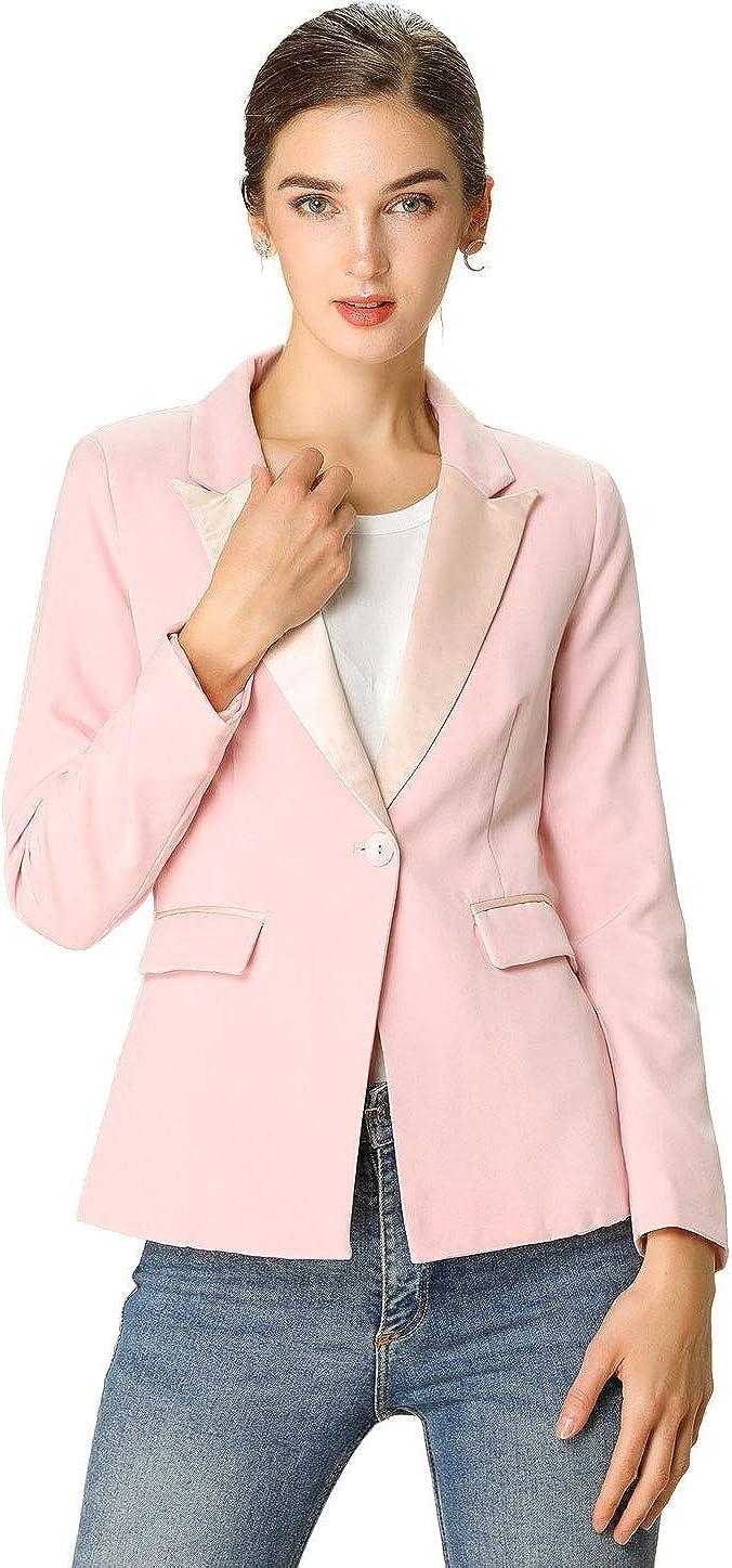 stile casual Allegra K con risvolto intagliato Giacca da donna a maniche lunghe