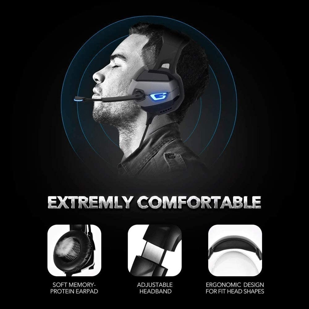 IhDFR Headset Gaming Headset 7.1 Surround Noise Cancelling Microphone for PS4 Color : Black Blue PC ONIKUMA Pro Stereo Gaming Headset Xbox One