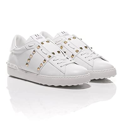 be2af301462d Valentino White Rockstud Untitled  11 Leather Sneakers (41 EU ...
