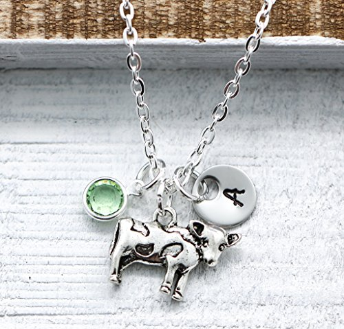 Cow Necklace - Personalized Cow Themed Gifts for Girls - Silver Cow Charm Jewelry - Custom Birthstone, Initial, Chain Length - Fast Shipping