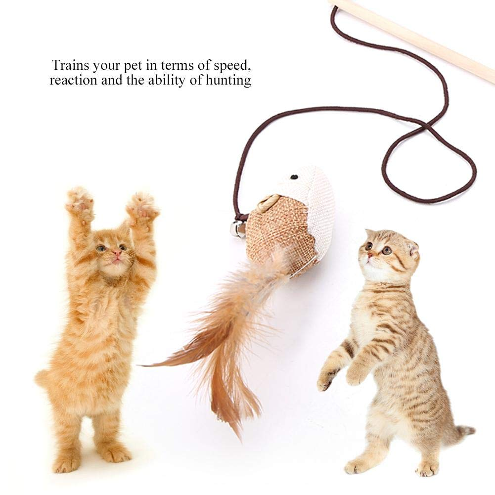Cat Teaser Toy Funny Interactive Teaser Wand Linen Rat Bird Feather Wooden Stick Chaser Kitten Toy for Cats Exercise Play Fun Gifts Haibao