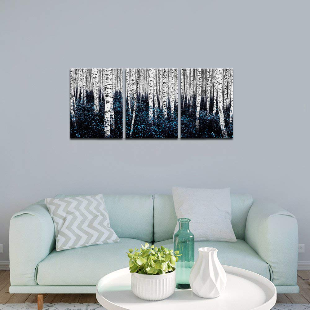sechars – Birch Tree Canvas Wall Art Blue Forest Pictures Teal Gray Aspen Painting Modern Landscape Canvas Art Turquoise Wall Decor for Bathroom Bedroom Decor Set of 3