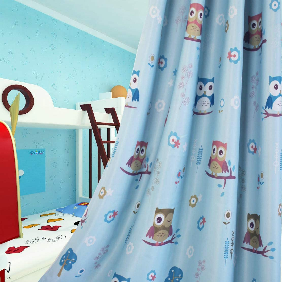 Blue,2 x 46x54 Inch MYRU Owl Curtains for Girls Bedroom Boy Curtains for Nursery Kindergarten Childrens Bedroom,Set of 2