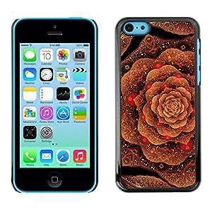 FlareStar Colour Printing Cabbage Floral Pattern Copper Bling Gold cáscara Funda Case Caso de plástico para Apple iPhone 5C