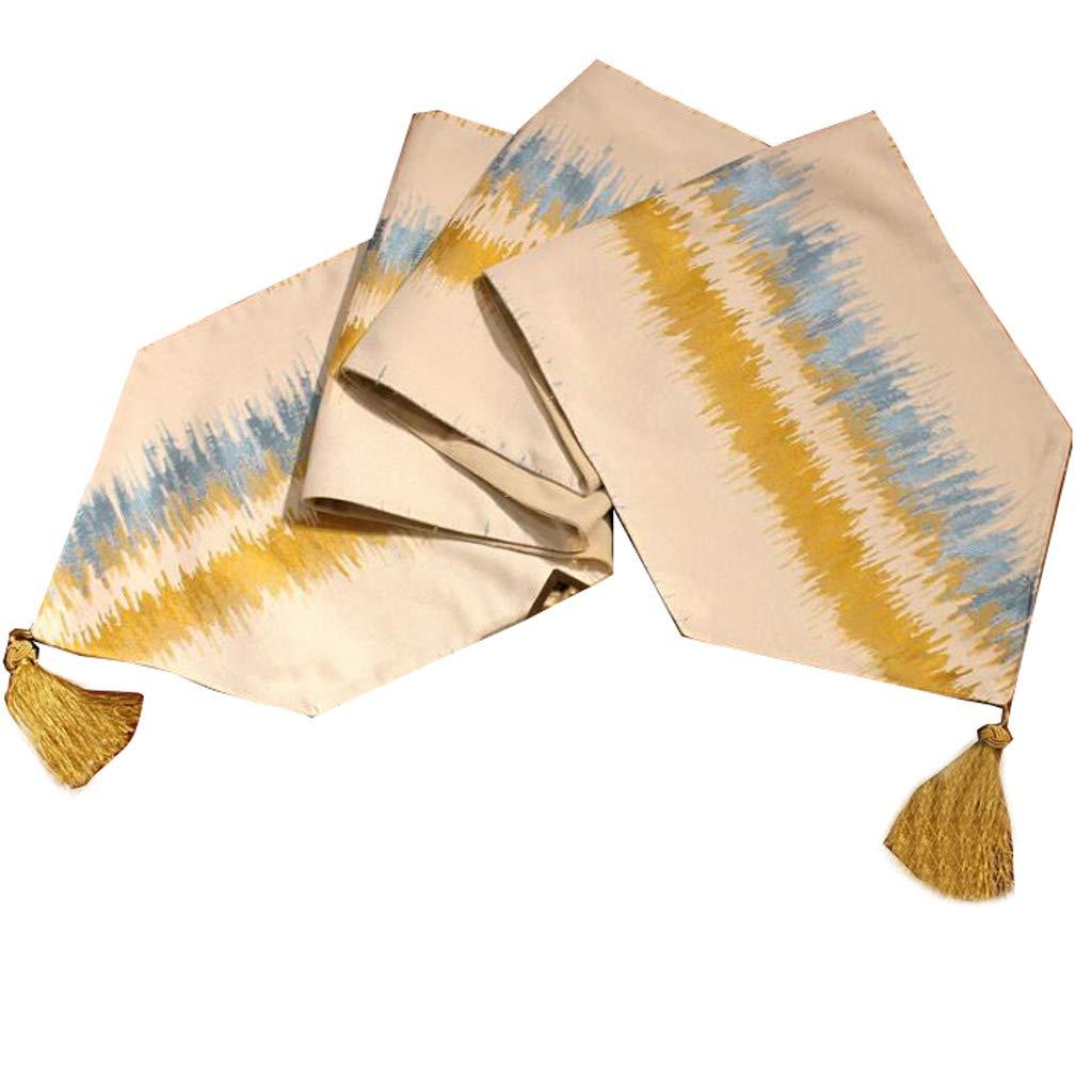 Frische Tabelle Flagge Blended Striped Einfache Mode Europäischen Kaffee Kaffee Kaffee Bett Hochzeit Hotel Bankett Dekoration 4 Farben 30 cm  140 cm MUMUJIN ( Farbe : Gelb and Blau curve , größe : 210cm ) 7fafc9