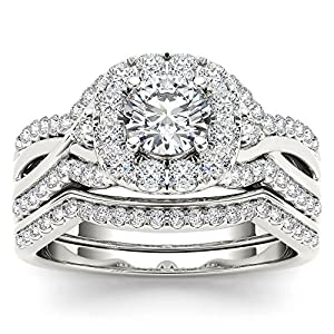 14k White Gold Diamond Criss Cross Shank Halo Engagement Ring Set( 1 1/4 cttw, H I Color, I2 Clarity)