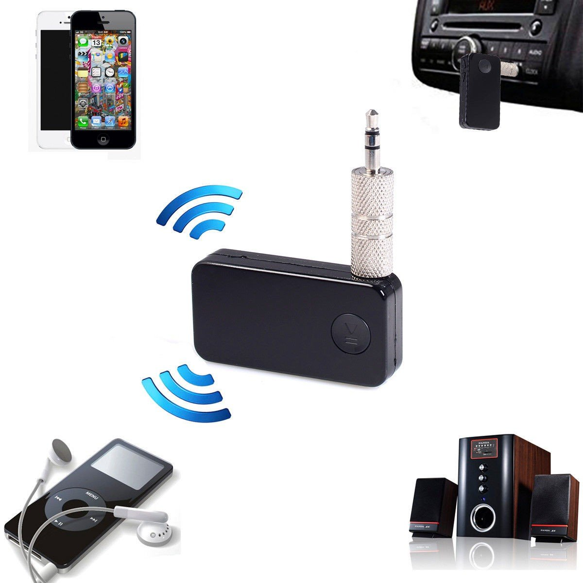 S AFSTAR Bluetooth Receiver Car Kit Safstar Portable Wireless Audio Adapter 3.5 mm Stereo Output for Home Audio Music Streaming Sound System LYSB01CXO3KAC-ELECTRNCS Bluetooth 3.0, A2DP, Built-in Microphone