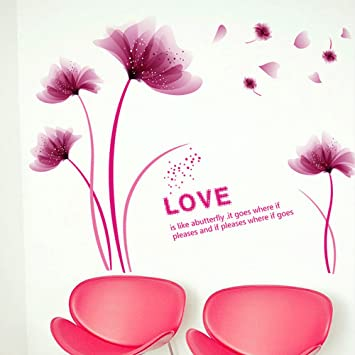 Amazon Com Romantic Flowers Petals English Letters Wall Sticker