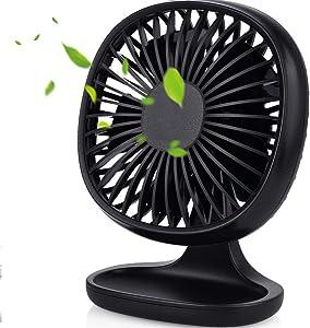Kakuru USB Desk Fan Strong Wind Cooling Fan with Adjustable Head, Quiet Portable Fan for Desktop Office Table, 3 Speeds, Mini Size Table Fan Computer Fan for Home Outdoor Travel