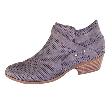 Logobeing Zapatos de Tacón Mujer Cuadrado con Hebilla Retro Botas Botines Mujer con Punta Cuadrada Altas