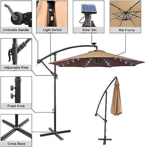 Paraguas de lujo para exteriores con energía solar, de 10 pies, con inclinación voladiza, para el patio Sombrilla colgante con 32 luces LED | Sistema de elevación de manivela | Base cruzada.
