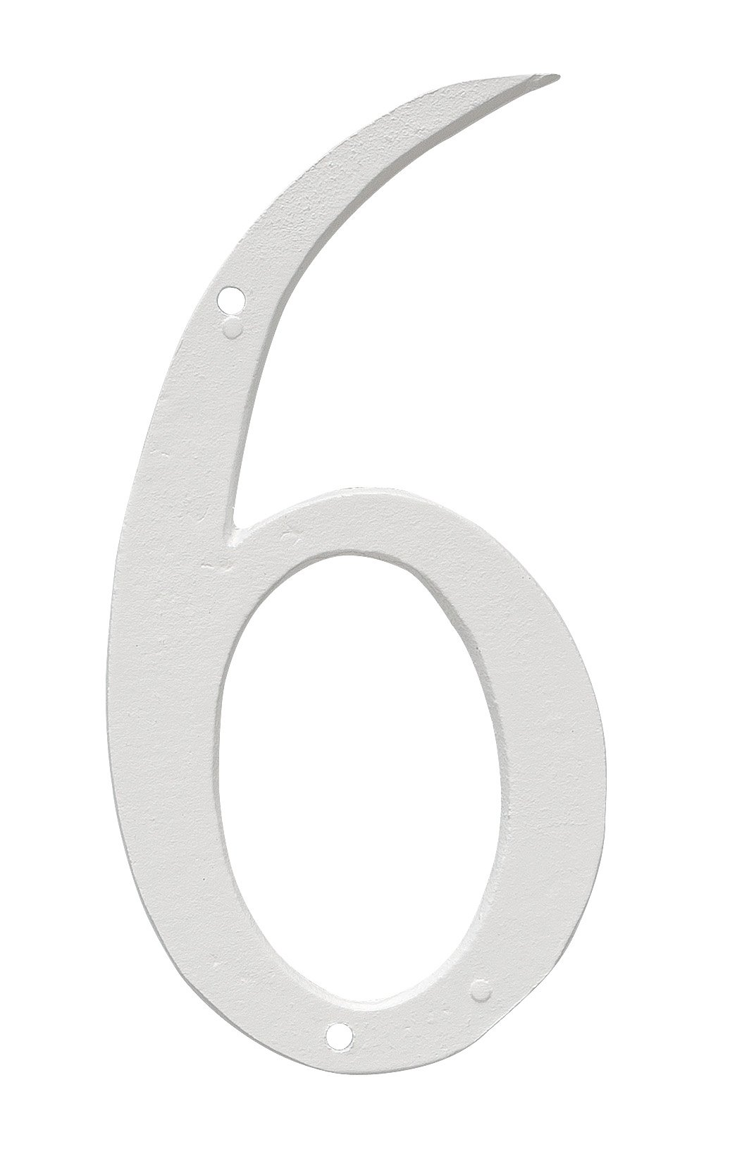 Montague Metal Products CSHN-4-6-W Aluminum House Number 6 Outdoor Plaque, Small, White