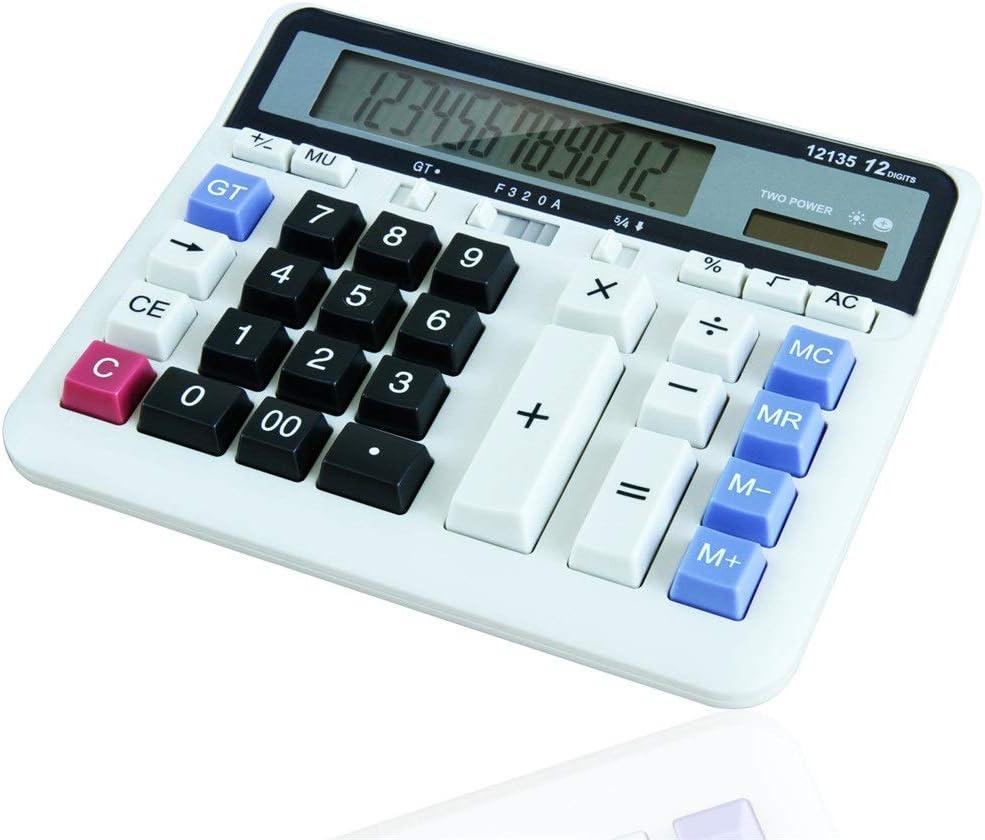 電卓 デュアルパワー12桁電卓大きなボタン太陽デスクトップ電卓のための学校オフィス ビジネス電卓 (色 : 白, サイズ : Free size)