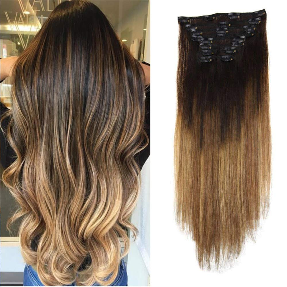 Laavoo 16 Inch Dip Dye Real Clip In Human Hair Extensions Balayage Ombre Color 2 Darkest Brown