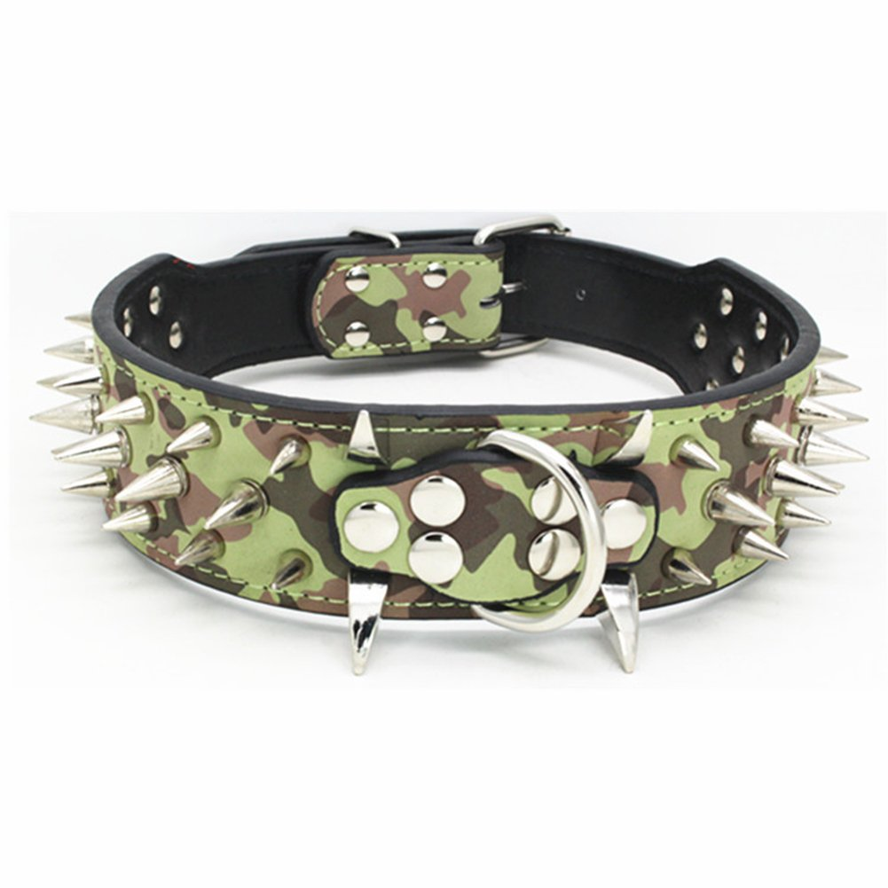 Camouflage XS Camouflage XS Rdc Pet Luxurious Spiked Studded Dog Collar, Padded PU Leather Collars for Medium Large Dogs 2 Inch Width (XS, Camouflage)