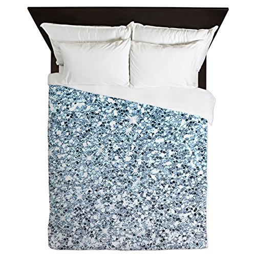 CafePress - Silver Blue Glitters Sparkles Texture - Queen Duvet Cover, Printed Comforter Cover, Unique Bedding, (Glitter Twin Set)