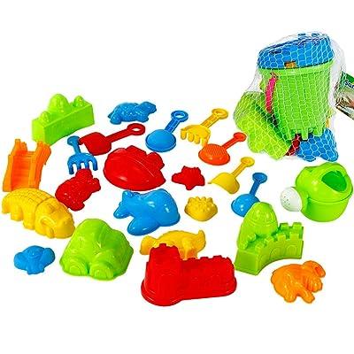 可愛い ThinkMax 25pcs Beach Sand Toys Set with Bucket Watering Can
