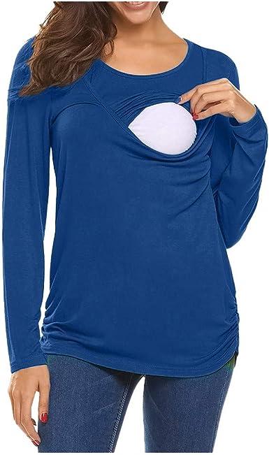 STRIR Tops de Amamantar de Manga Larga para Mujer Camisa de Lactancia Camisetas Mamá Mujer Ropa Premamá Lactancia Maternidad De Doble Embarazada Capa: Amazon.es: Ropa y accesorios